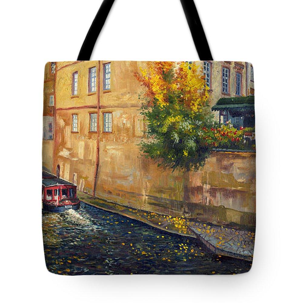 Oil.prague Tote Bag featuring the painting Prague Venice Chertovka 2 by Yuriy Shevchuk