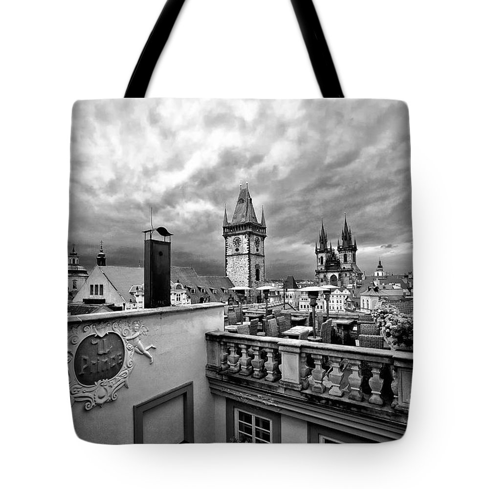 Prague Tote Bag featuring the photograph Prague View From The Top by Madeline Ellis