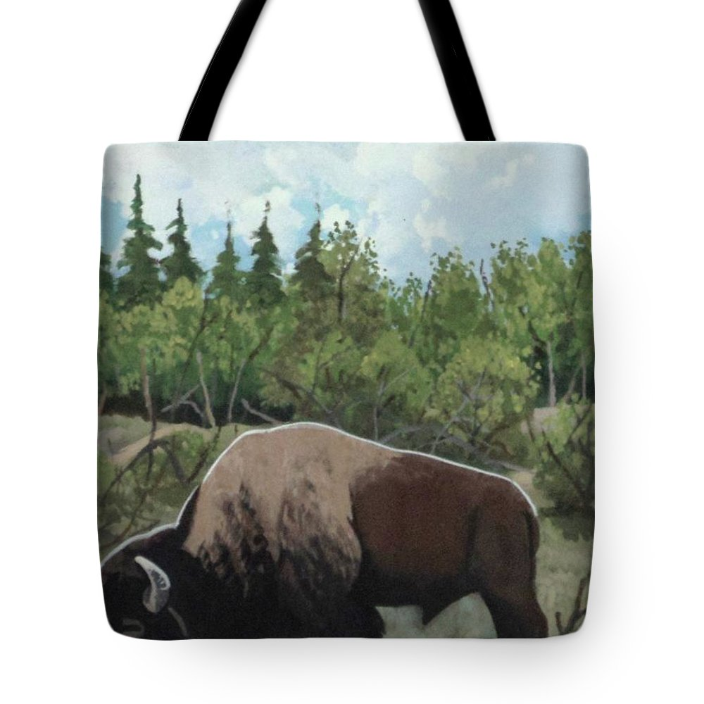 Buffalo Tote Bag featuring the painting Prairie Bison by Anthony Bear