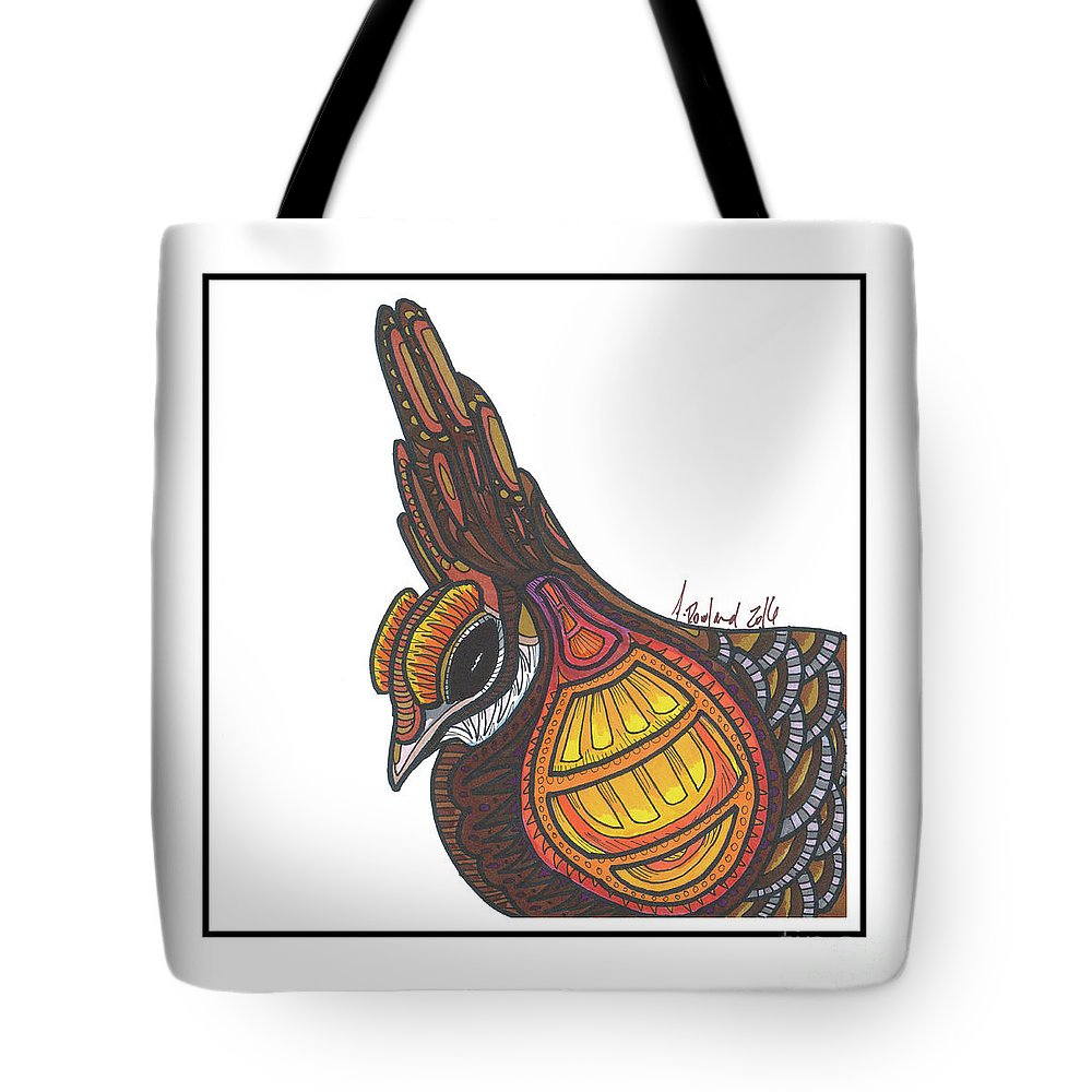 Tote Bag featuring the drawing Prairie Chicken #51 by Allie Rowland