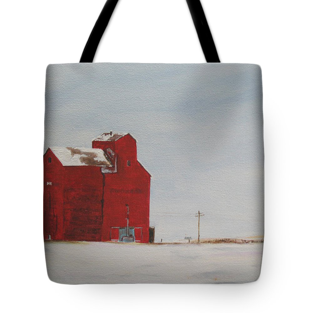 Grain Elevators Tote Bag featuring the painting Prairie Giants I by Elaine Booth-Kallweit