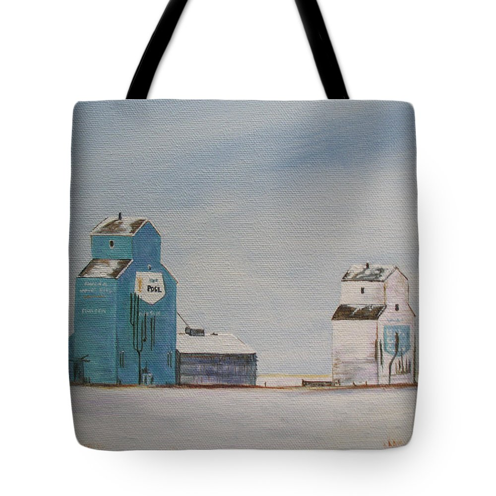 Grain Elevators Tote Bag featuring the painting Prairie Giants II by Elaine Booth-Kallweit