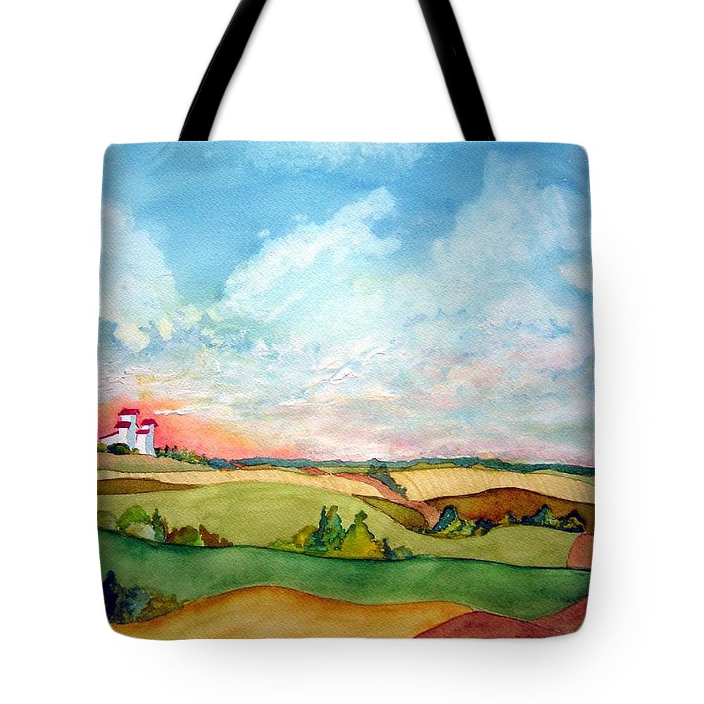 Prairie Grain Elevators Tote Bag featuring the painting Prairie Grain Elevators by Joanne Smoley