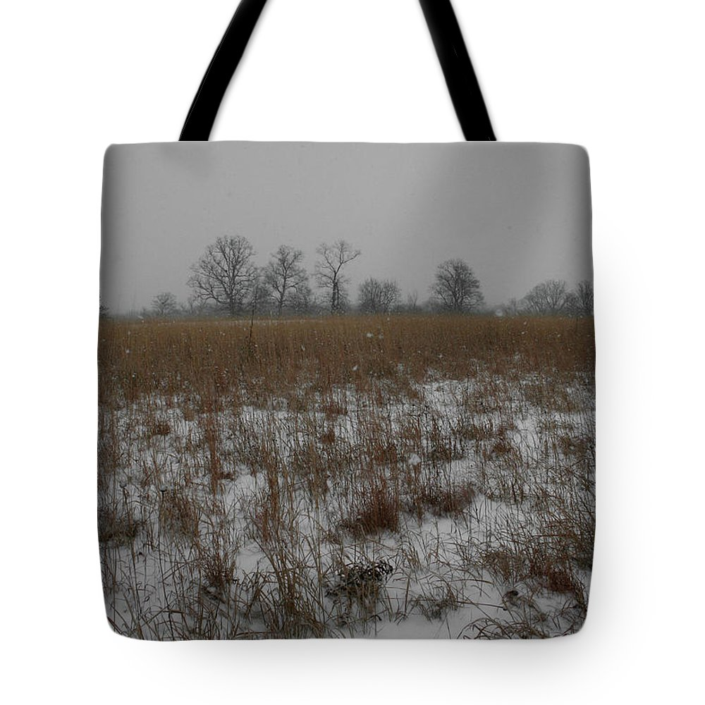 Landscape Tote Bag featuring the photograph Prairie Snow by Dylan Punke