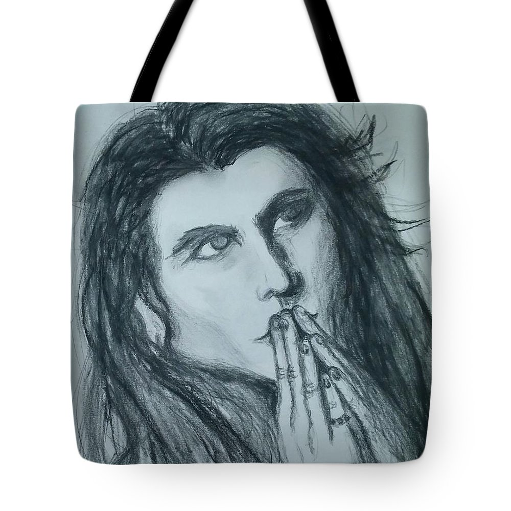 Tote Bag featuring the drawing Pray For Peace by Heather James