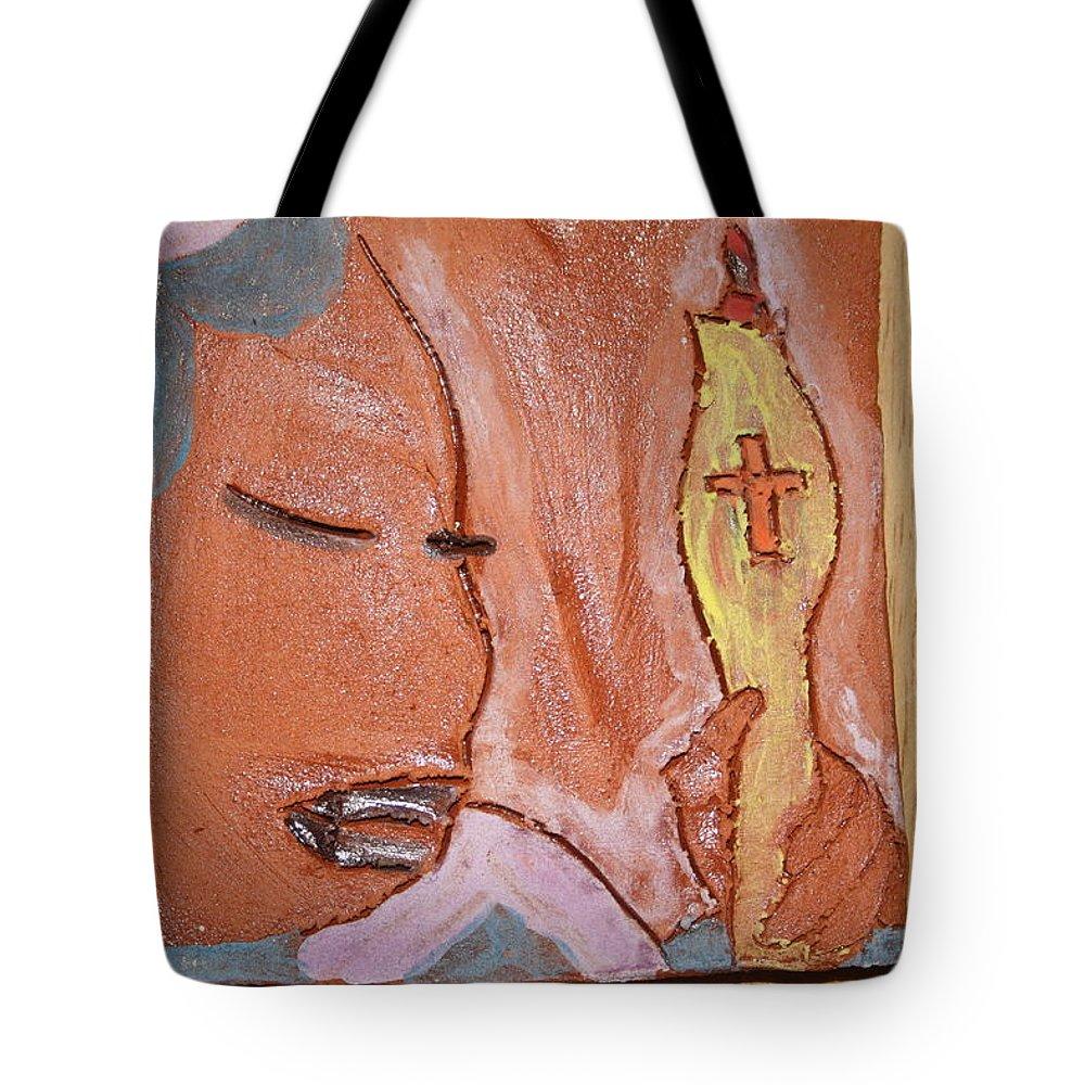Jesus Tote Bag featuring the ceramic art Prayer 33 - Tile by Gloria Ssali
