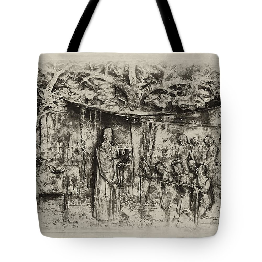 Jamestown Virginia Tote Bag featuring the photograph Prayer Meeting At Jamestown by Bill Cannon