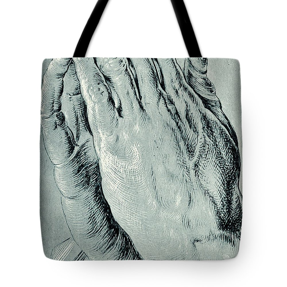 e575b7f9f4c0 Hands Tote Bag featuring the drawing Praying Hands