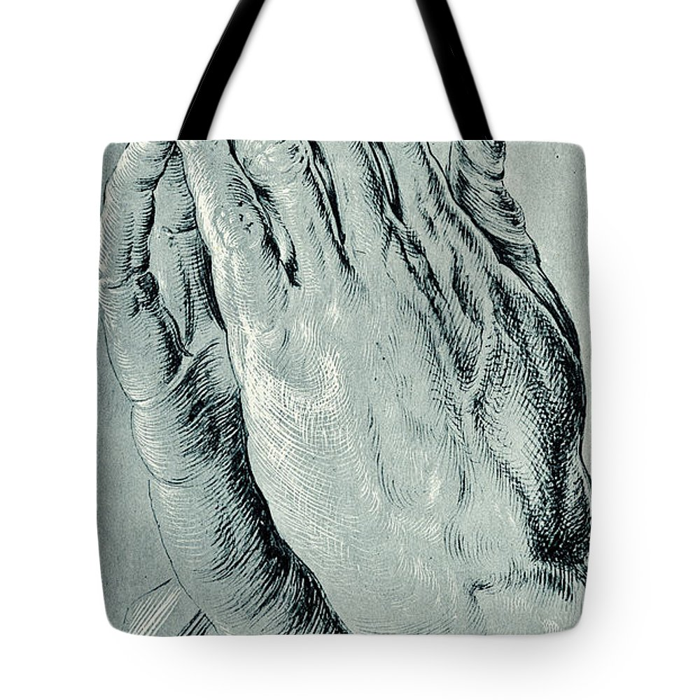 3993f89d19d6 Hands Tote Bag featuring the drawing Praying Hands
