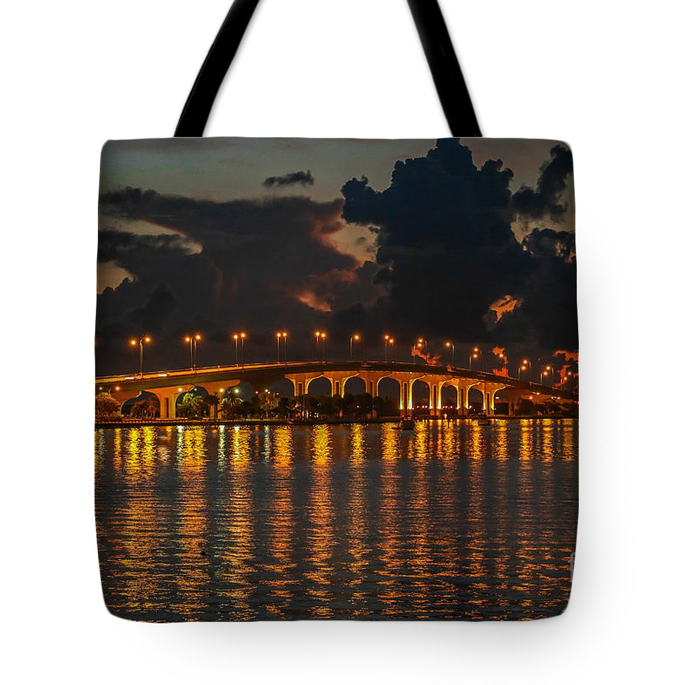 Bridge Tote Bag featuring the photograph Pre-dawn Causeway View by Tom Claud