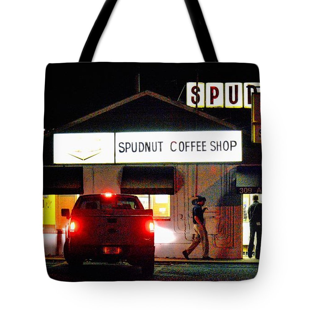 Charlottesville Tote Bag featuring the photograph Pre-dawn Spudnut Run by Orion Holen