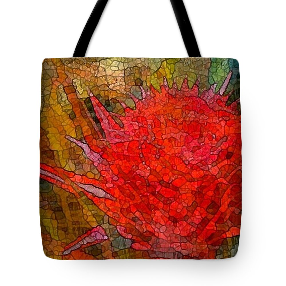 Hawaii Tote Bag featuring the digital art Bloom In Bits by Ellen Cannon