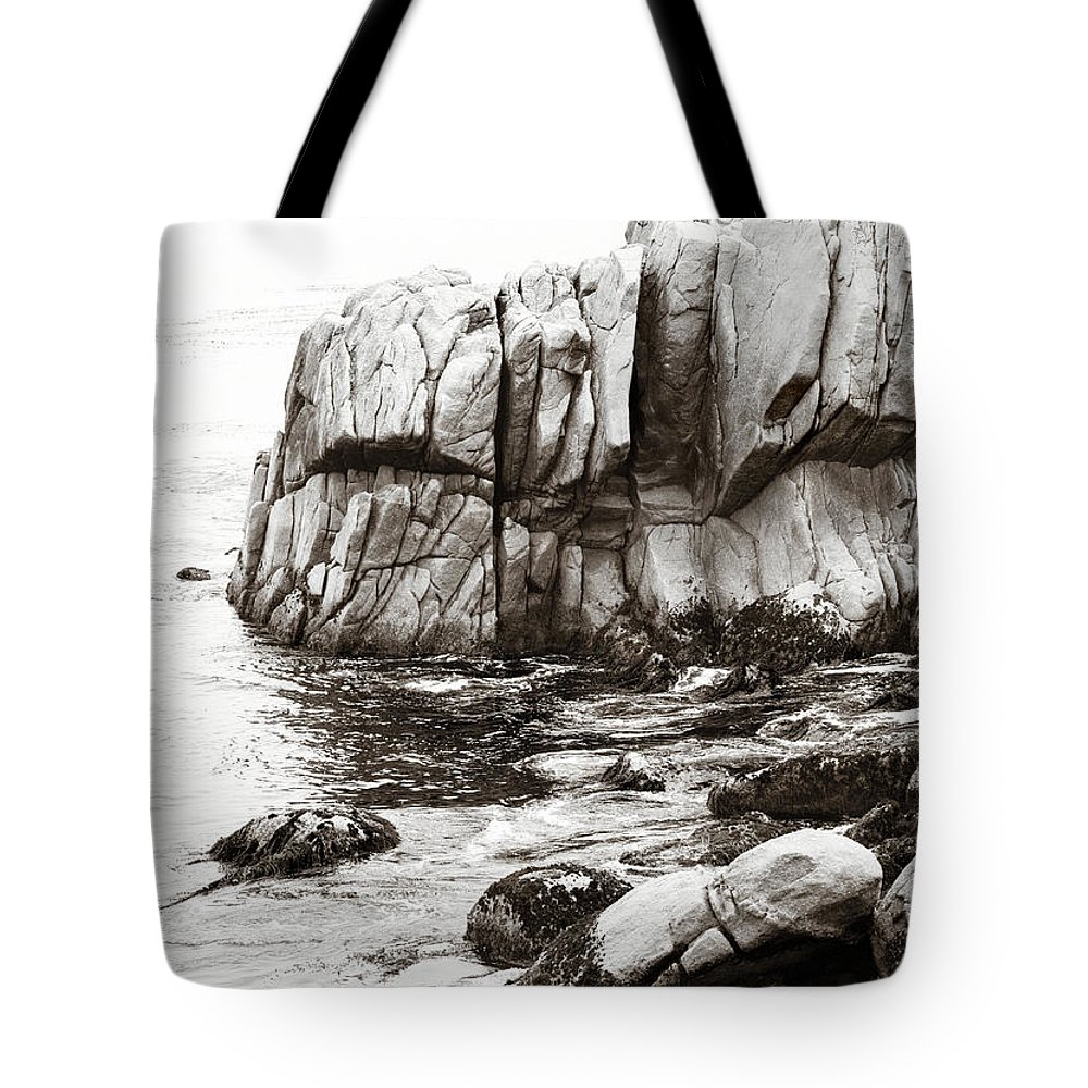 Pebble Beach Tote Bag featuring the photograph Precarious At Pebble Beach by Marilyn Hunt