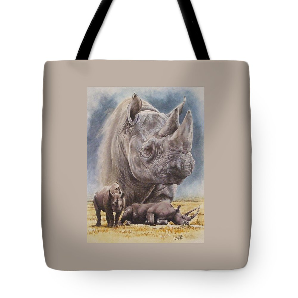Wildlife Tote Bag featuring the mixed media Precarious by Barbara Keith