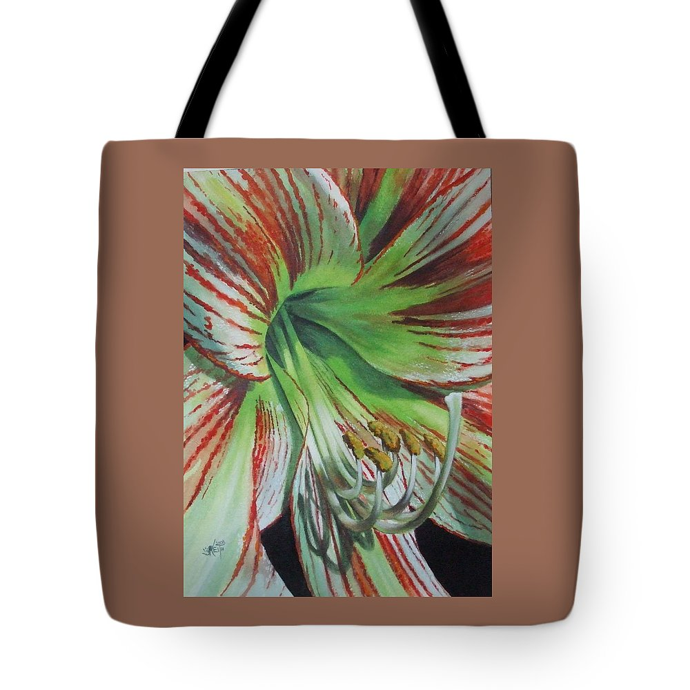 Amaryllis Tote Bag featuring the painting Precious by Barbara Keith