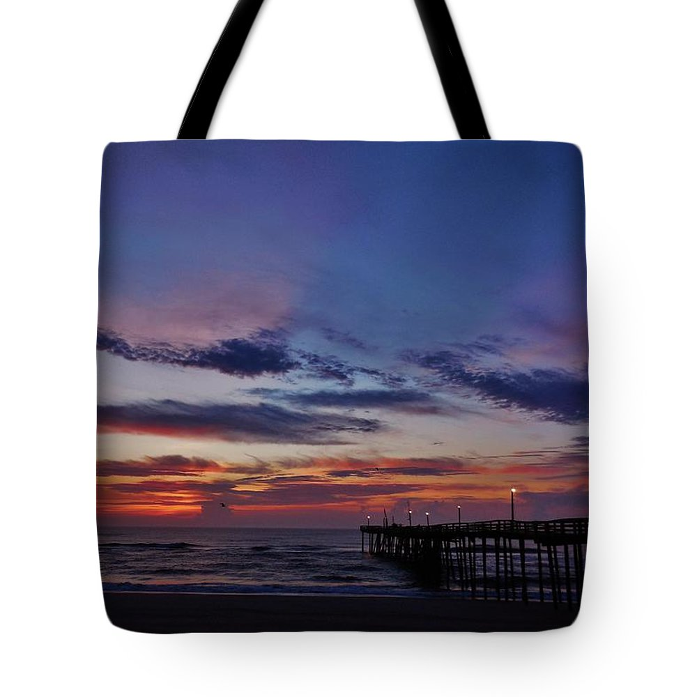 Mark Lemmon Cape Hatteras Nc The Outer Banks Photographer Subjects From Sunrise Tote Bag featuring the photograph Predawn Avon Pier 1 4/10 by Mark Lemmon