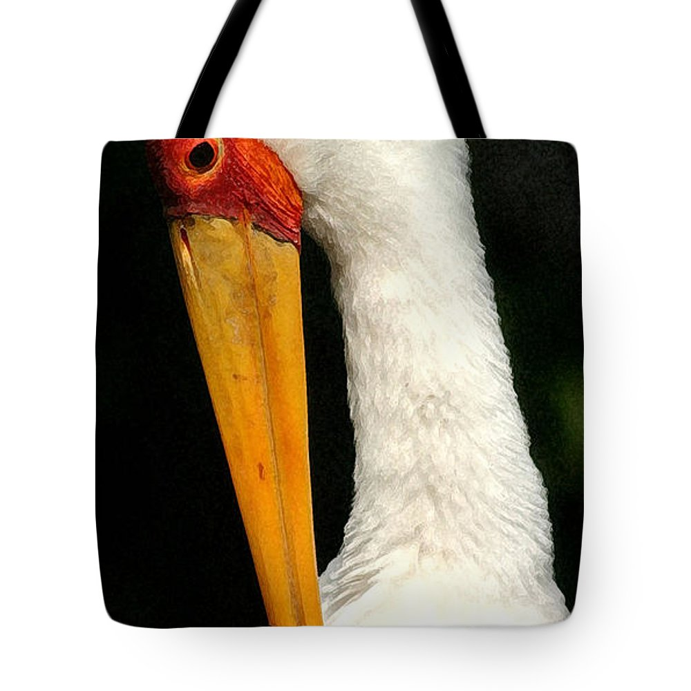 Stork Tote Bag featuring the photograph Preening Stork by Mary Haber