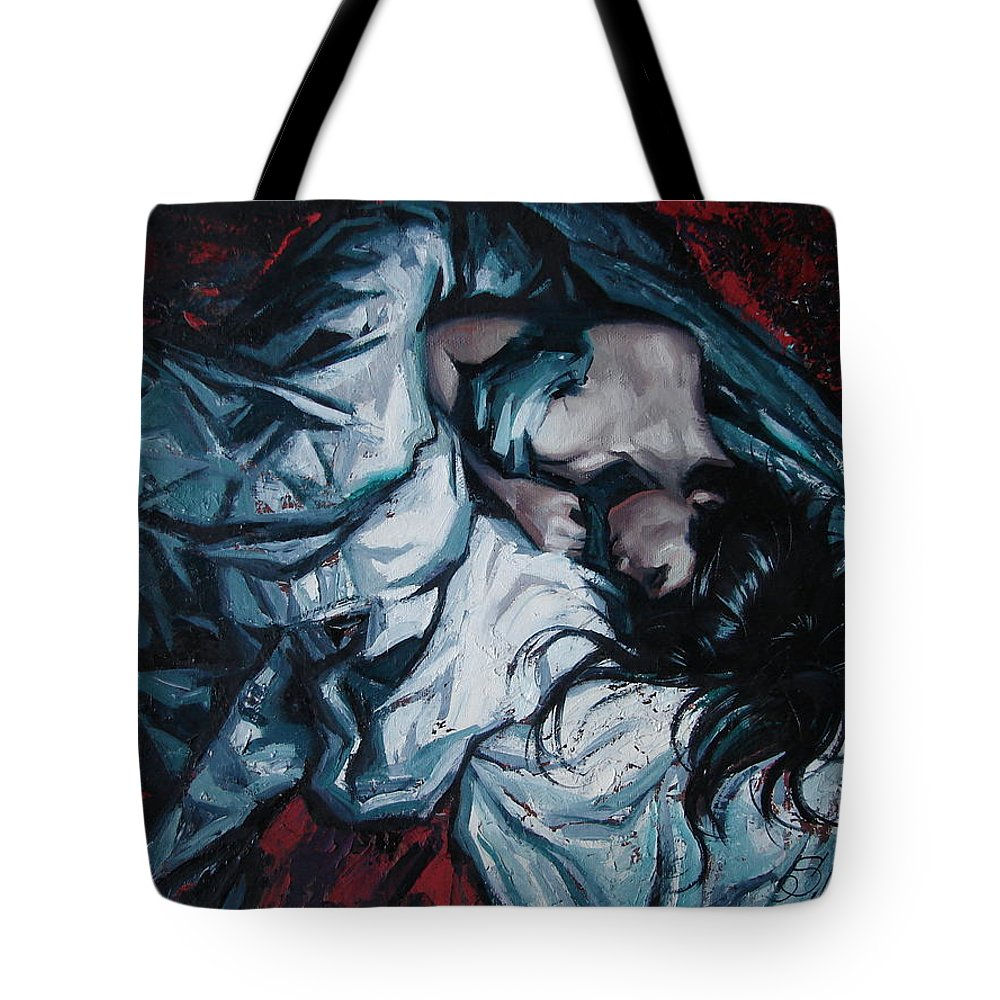 Oil Tote Bag featuring the painting Presentiment of insomnia by Sergey Ignatenko