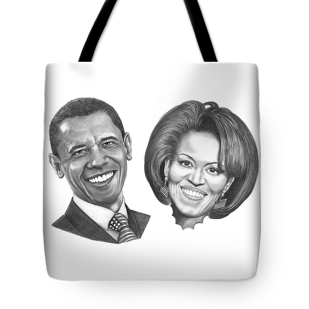 Drawings Tote Bag featuring the drawing President And First Lady Obama by Murphy Elliott