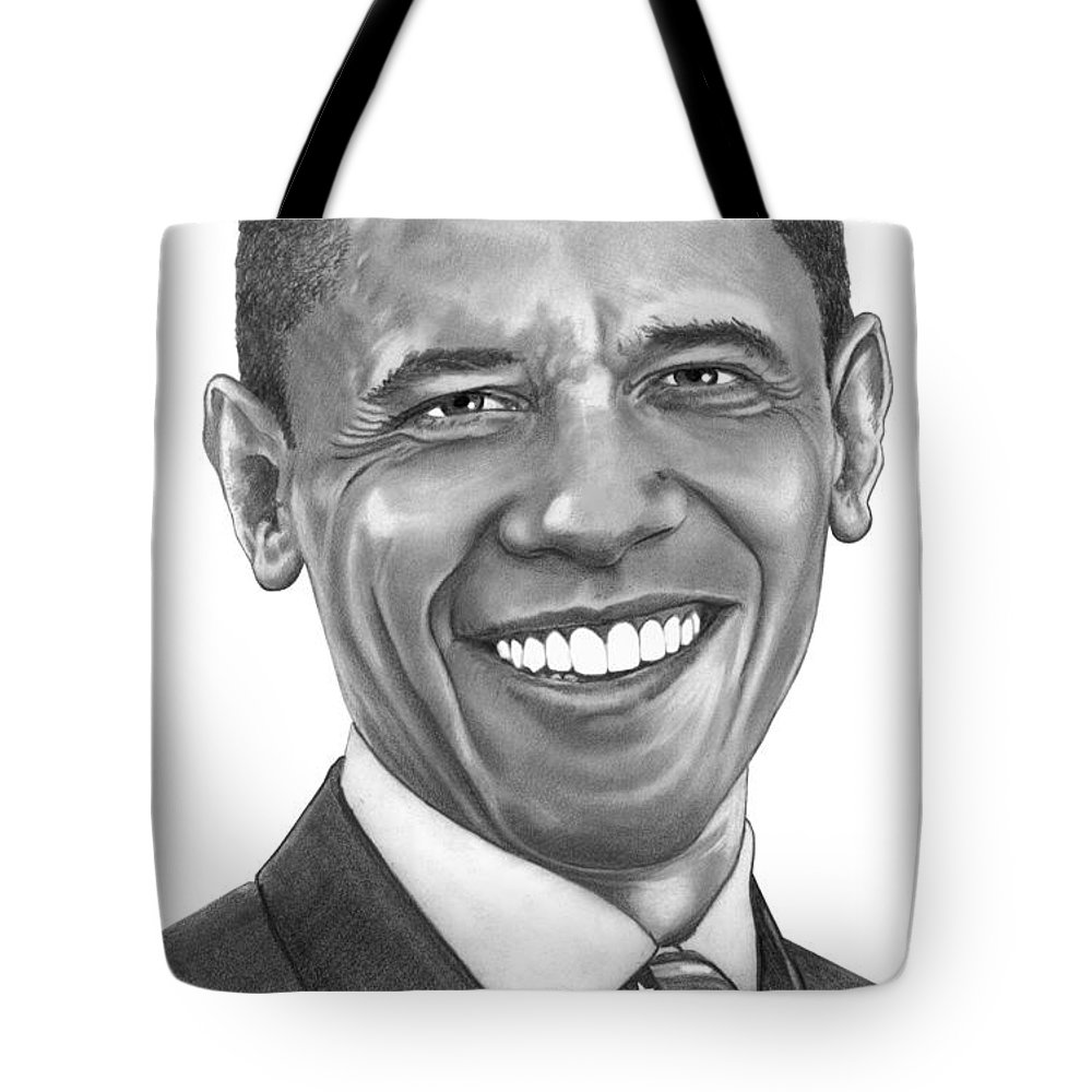 Drawing Tote Bag featuring the drawing President Barack Obama By Murphy Art. Elliott by Murphy Elliott