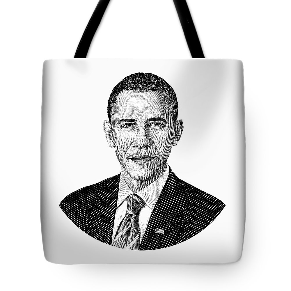 Obama tote bag featuring the digital art president barack obama graphic black and white by war