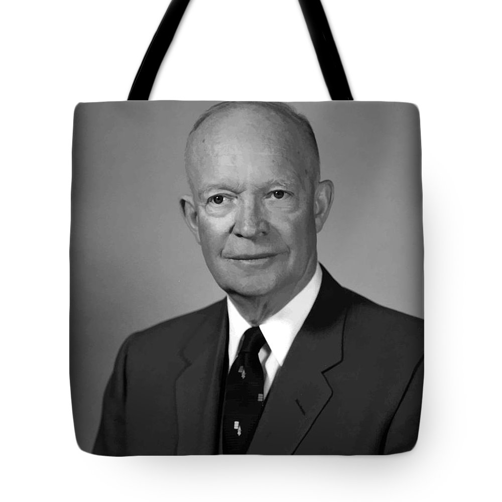 Eisenhower Tote Bag featuring the painting President Eisenhower by War Is Hell Store