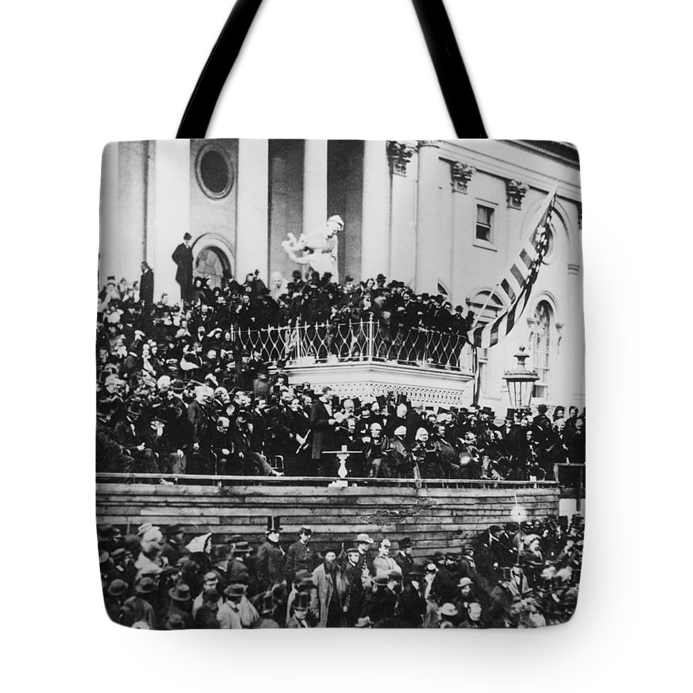 abraham Lincoln Tote Bag featuring the photograph President Lincoln Gives His Second Inaugural Address - March 4 1865 by International Images