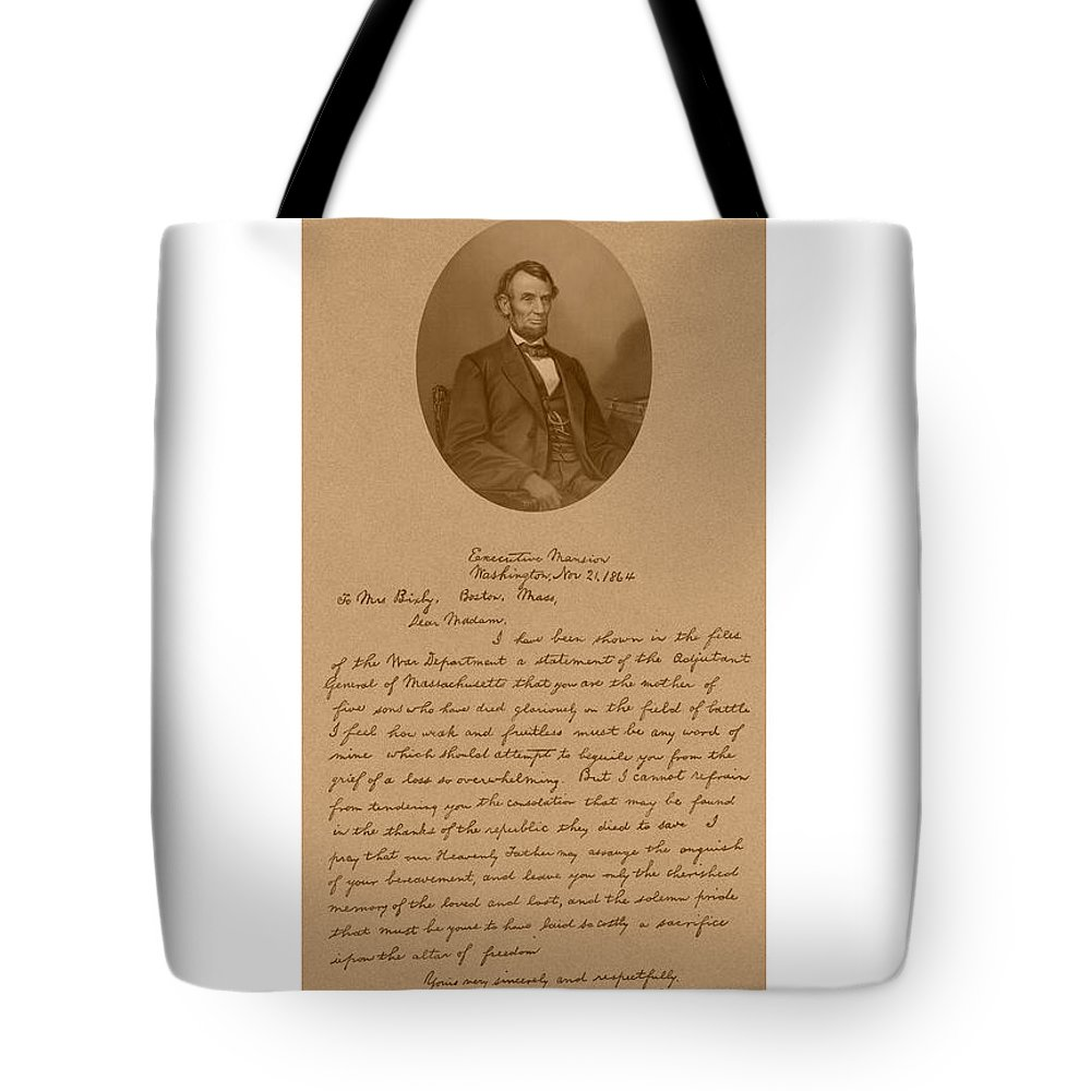 Bixby Letter Tote Bag featuring the mixed media President Lincoln's Letter To Mrs. Bixby by War Is Hell Store