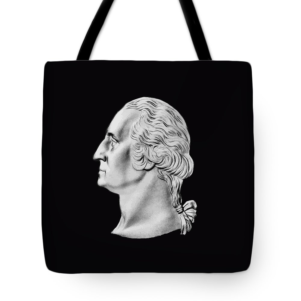 General George Washington Tote Bag featuring the digital art President Washington Bust by War Is Hell Store
