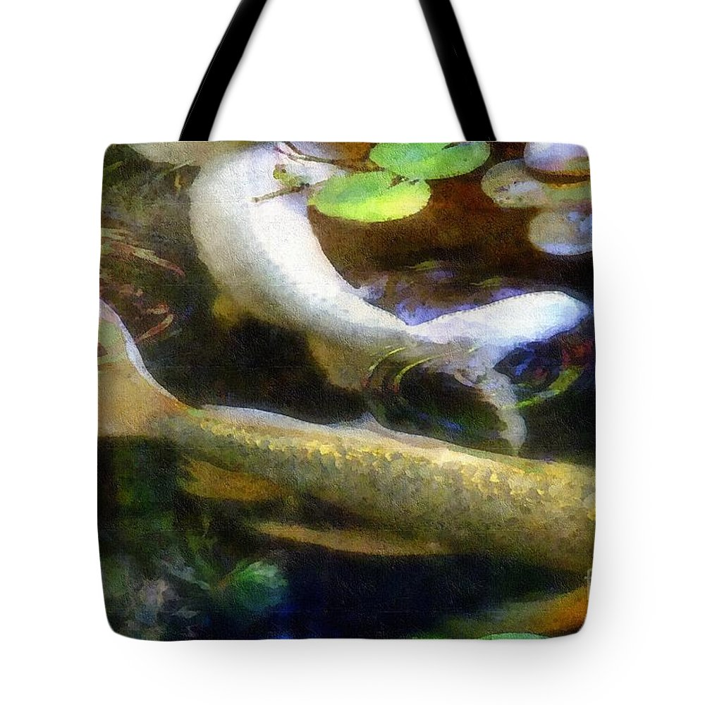 Fish Tote Bag featuring the painting Pretending To Be Coy by RC DeWinter