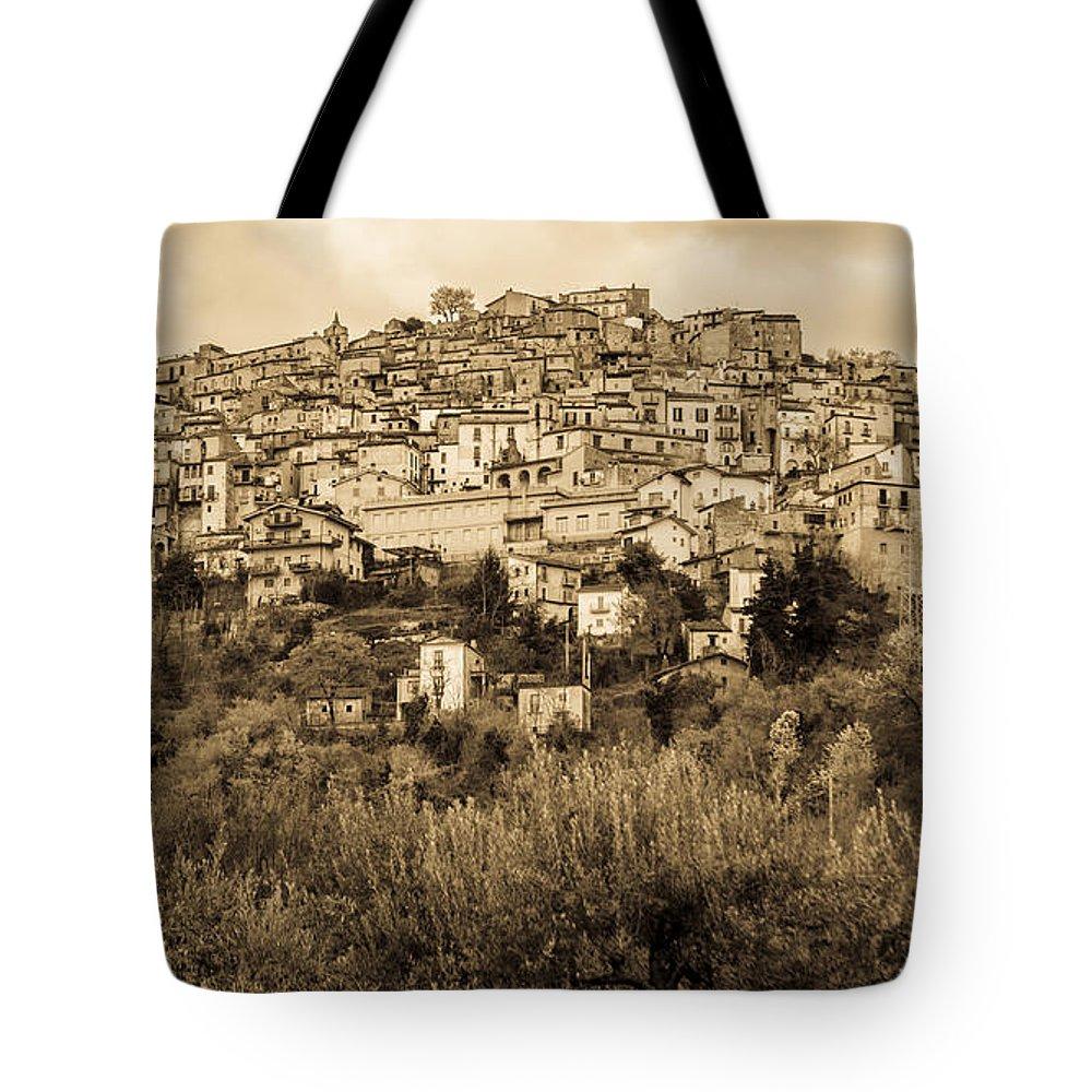Pretoro Tote Bag featuring the photograph Pretoro - Landscape In Sepia Tones by Andrea Mazzocchetti