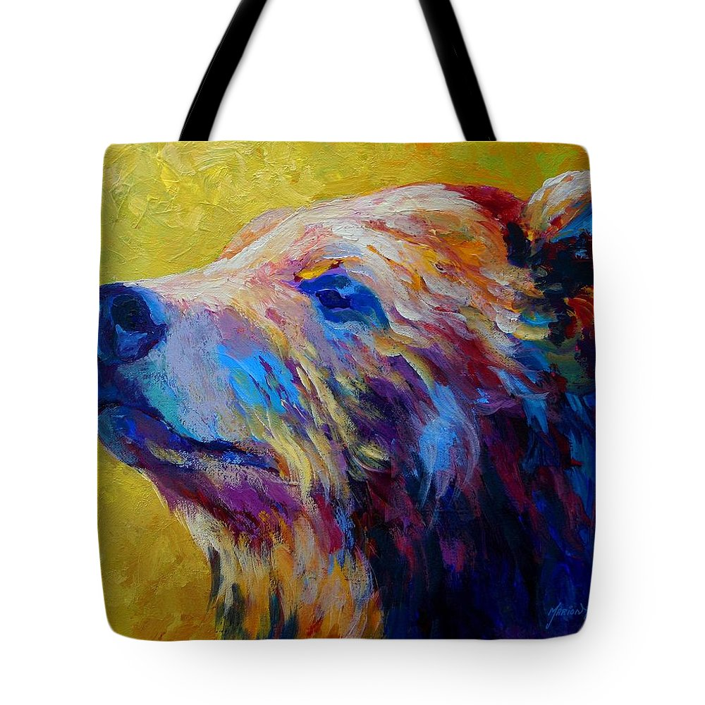 Bear Tote Bag featuring the painting Pretty Boy - Grizzly Bear by Marion Rose