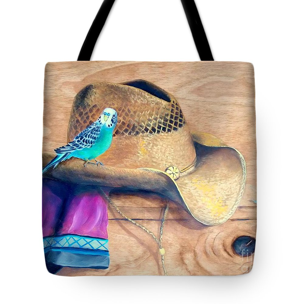 Parakeet Tote Bag featuring the painting Pretty Boy by Patricia Lang