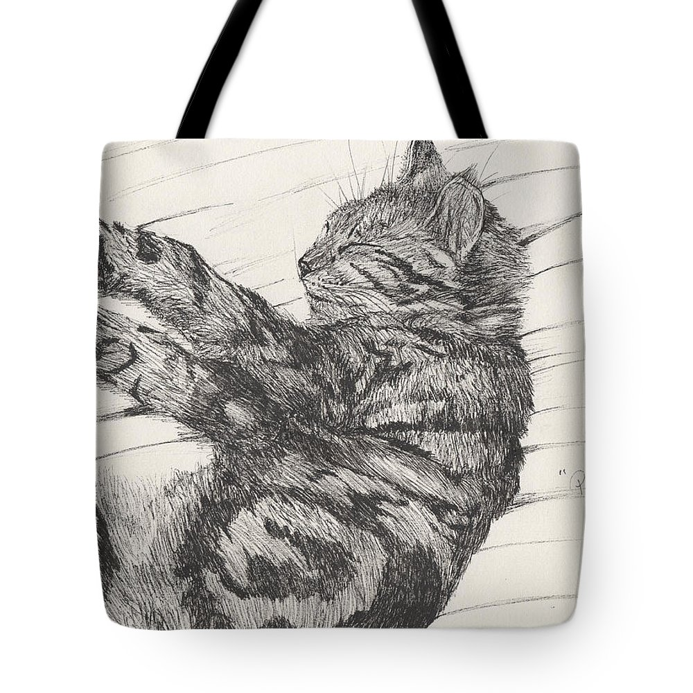 Cat Tote Bag featuring the drawing Pretty Collie Beastie by Vincent Alexander Booth