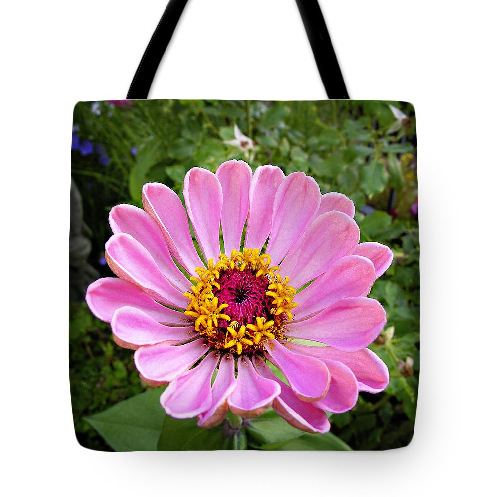 Flower Tote Bag featuring the photograph Pretty In Pink Zinnia by Marilyn Hunt