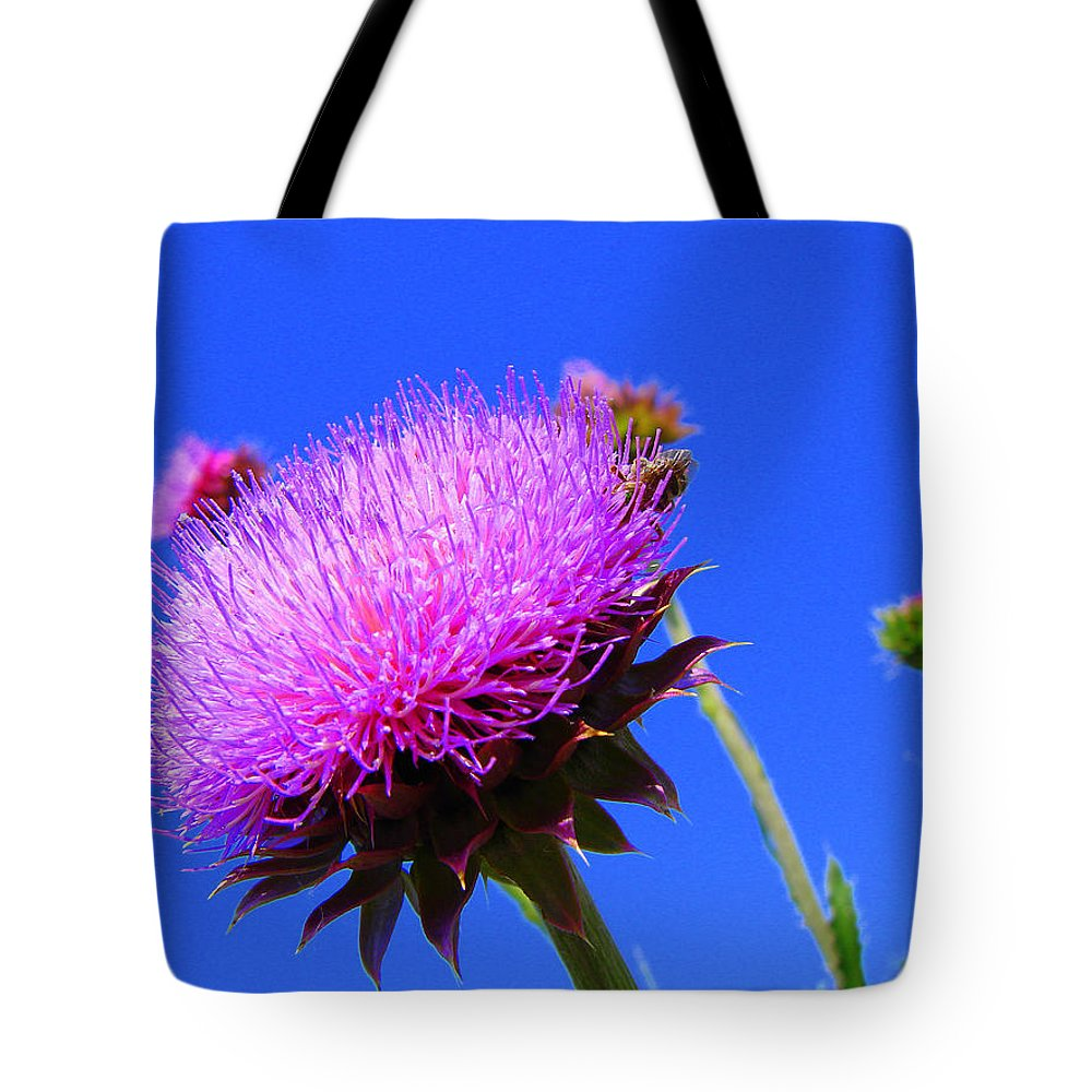 Thistle Bloom Tote Bag featuring the photograph Pretty Weed by J R  Seymour