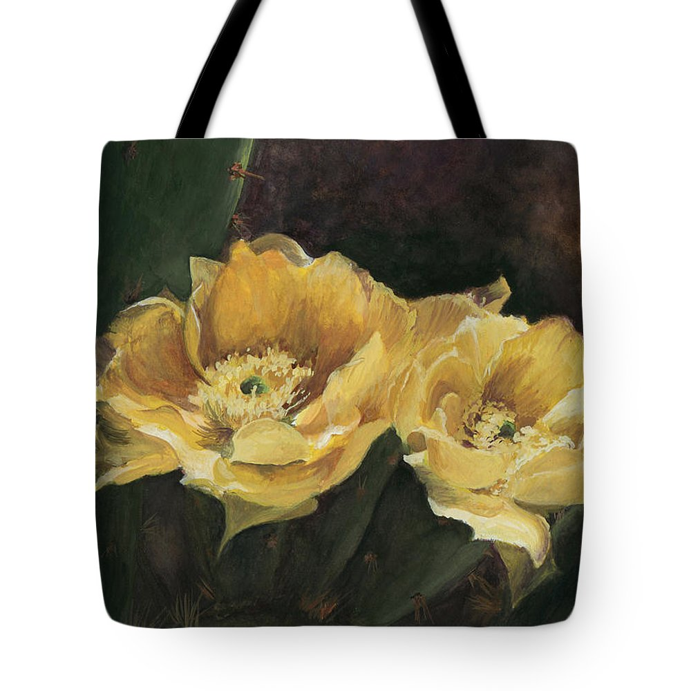 Floral Tote Bag featuring the painting Prickly Pear Beauties by Susan Klinger