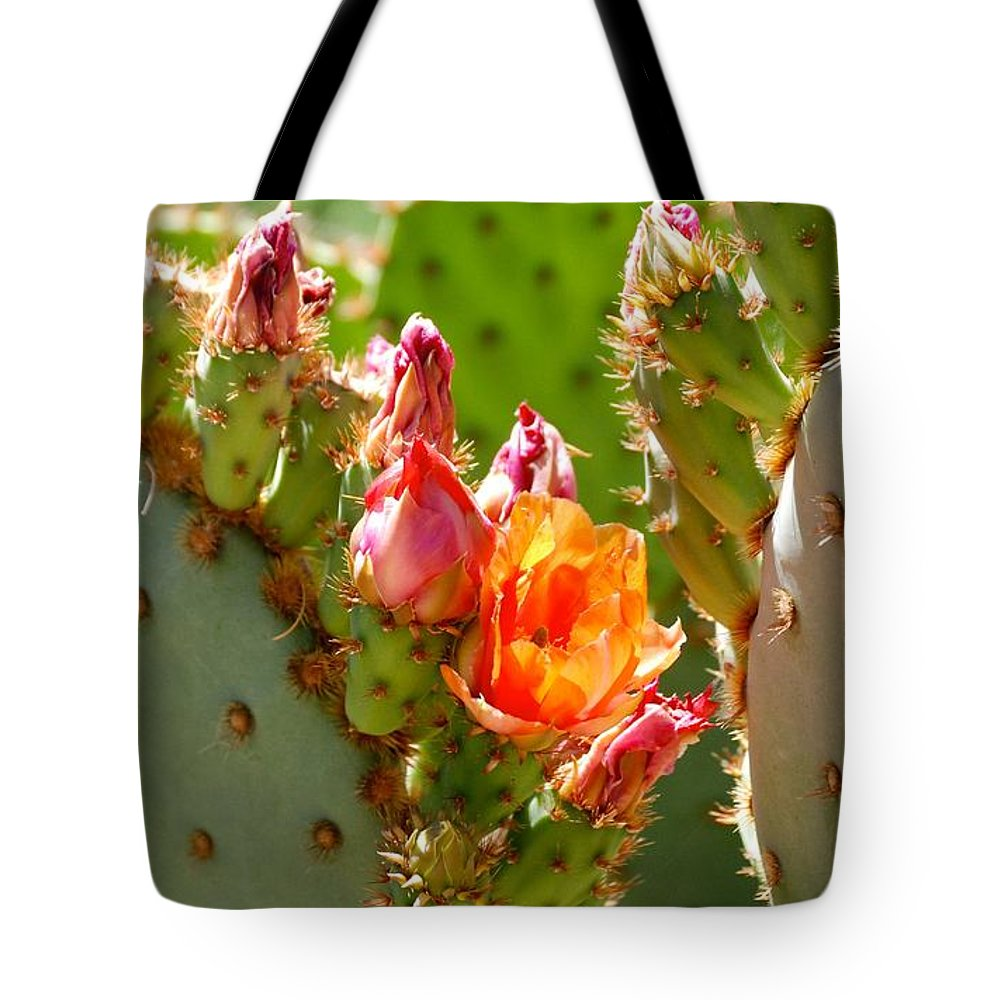 Prickly Pear Tote Bag featuring the photograph Prickly Pear Blooms by AJ Harlan