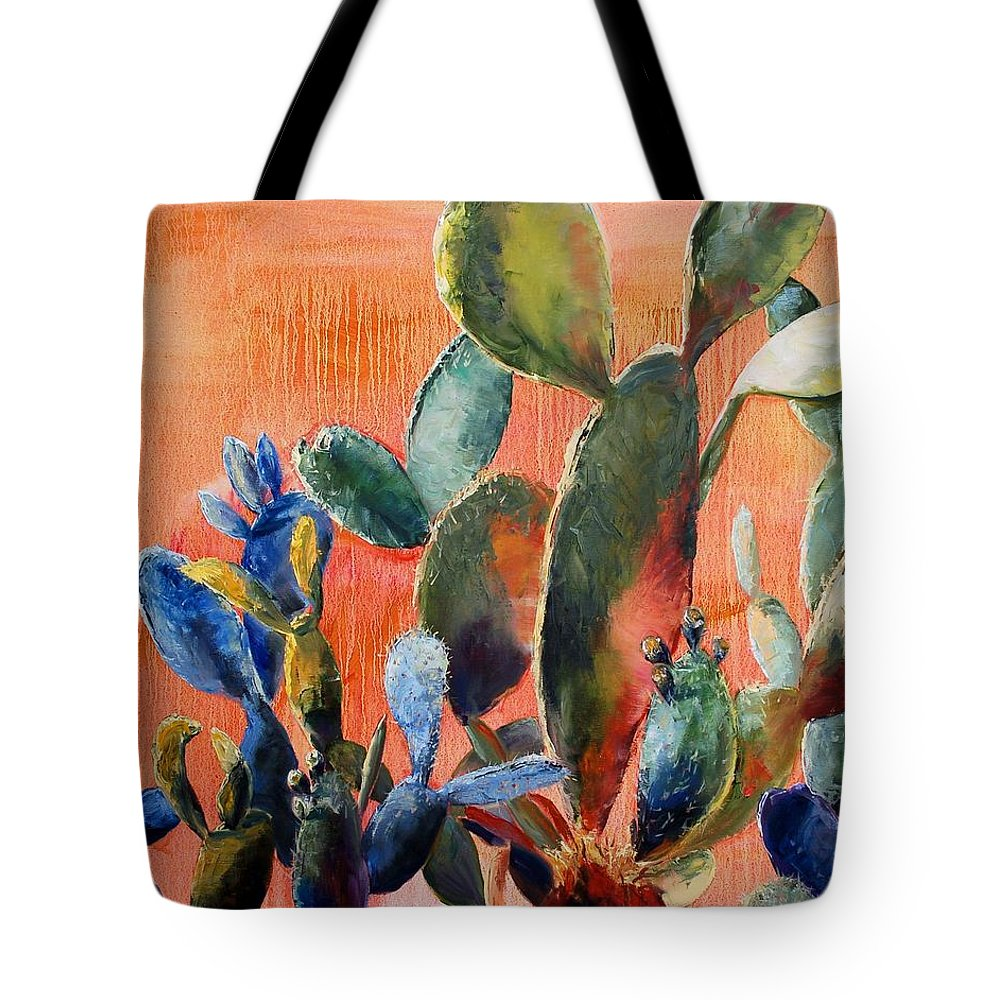 Cactus Tote Bag featuring the painting Prickly Pear by Lynee Sapere