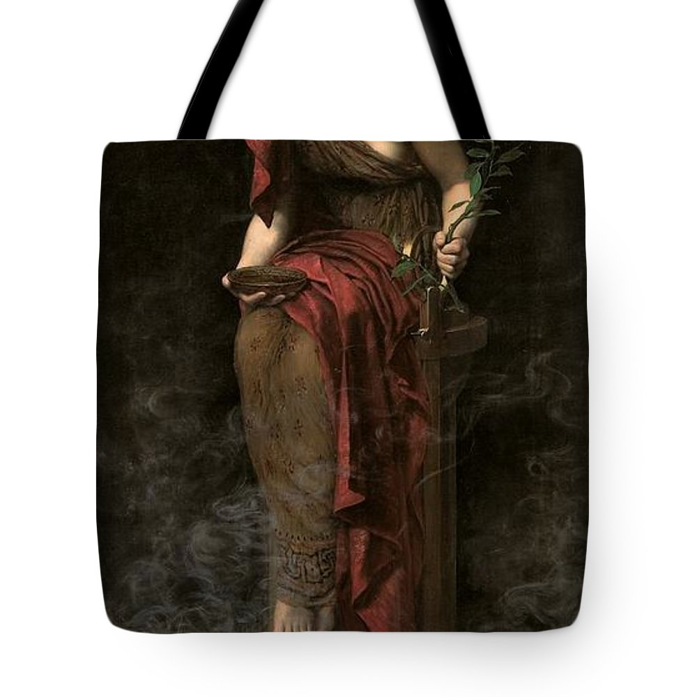 Portrait Tote Bag featuring the painting Priestess Of Delphi by John Collier