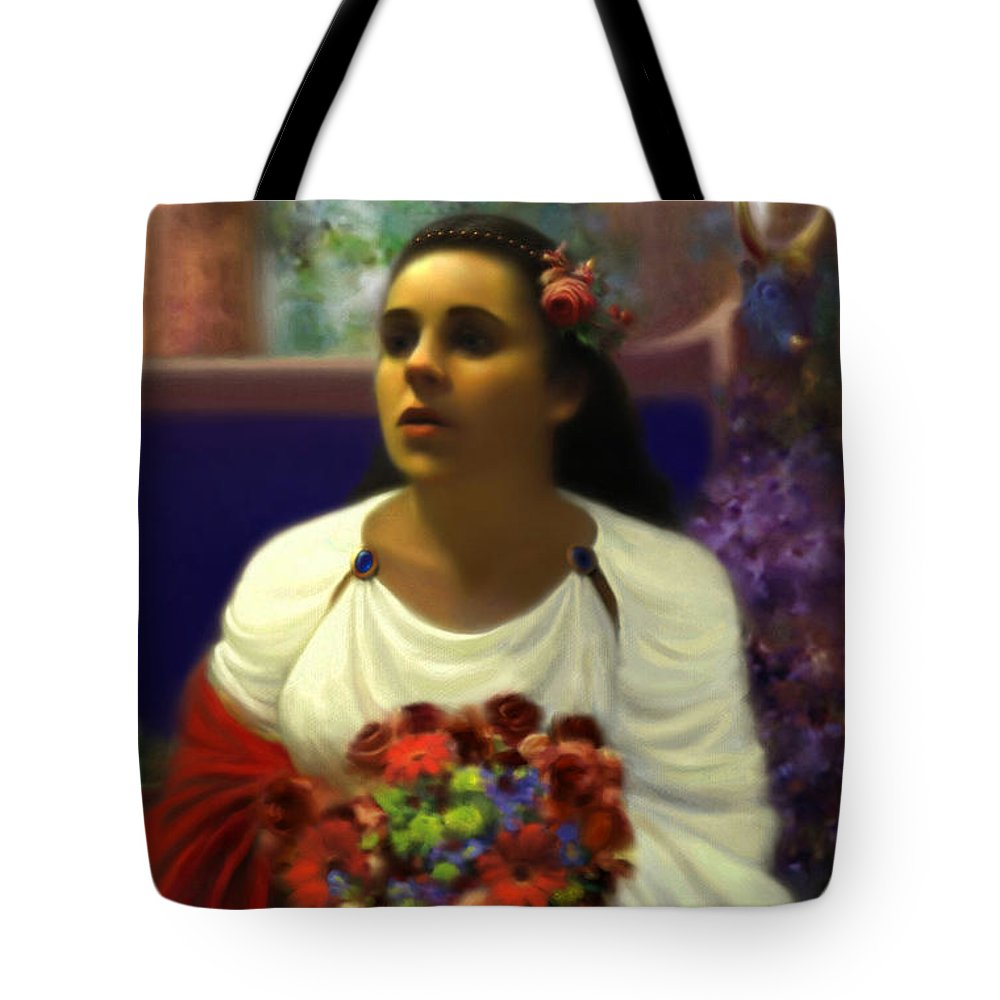 Goddess Tote Bag featuring the digital art Priestess Of The Floral Temple by Stephen Lucas
