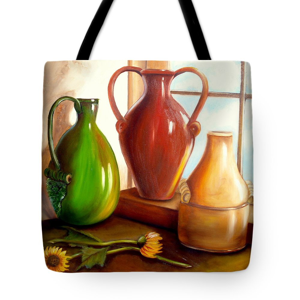 Urns Tote Bag featuring the painting Primarily Jugs. Sold by Susan Dehlinger