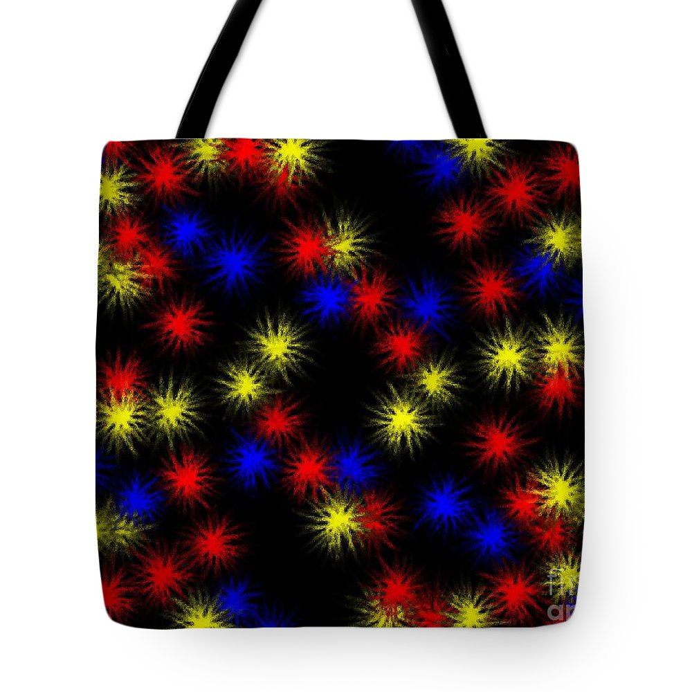 Clay Tote Bag featuring the digital art Primary Bursts Under Glass by Clayton Bruster