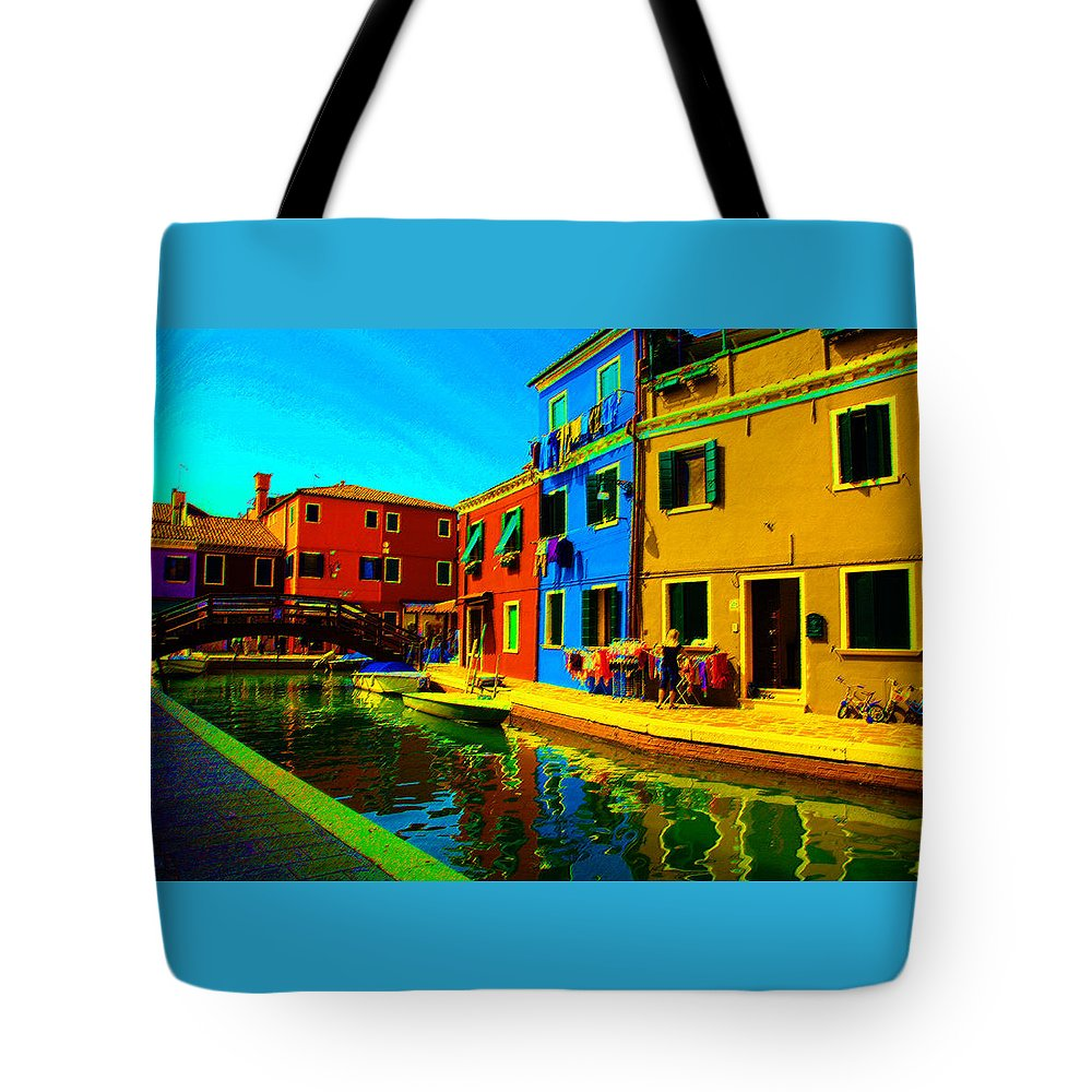 Burano Tote Bag featuring the pastel Primary Colors 2 by Donna Corless