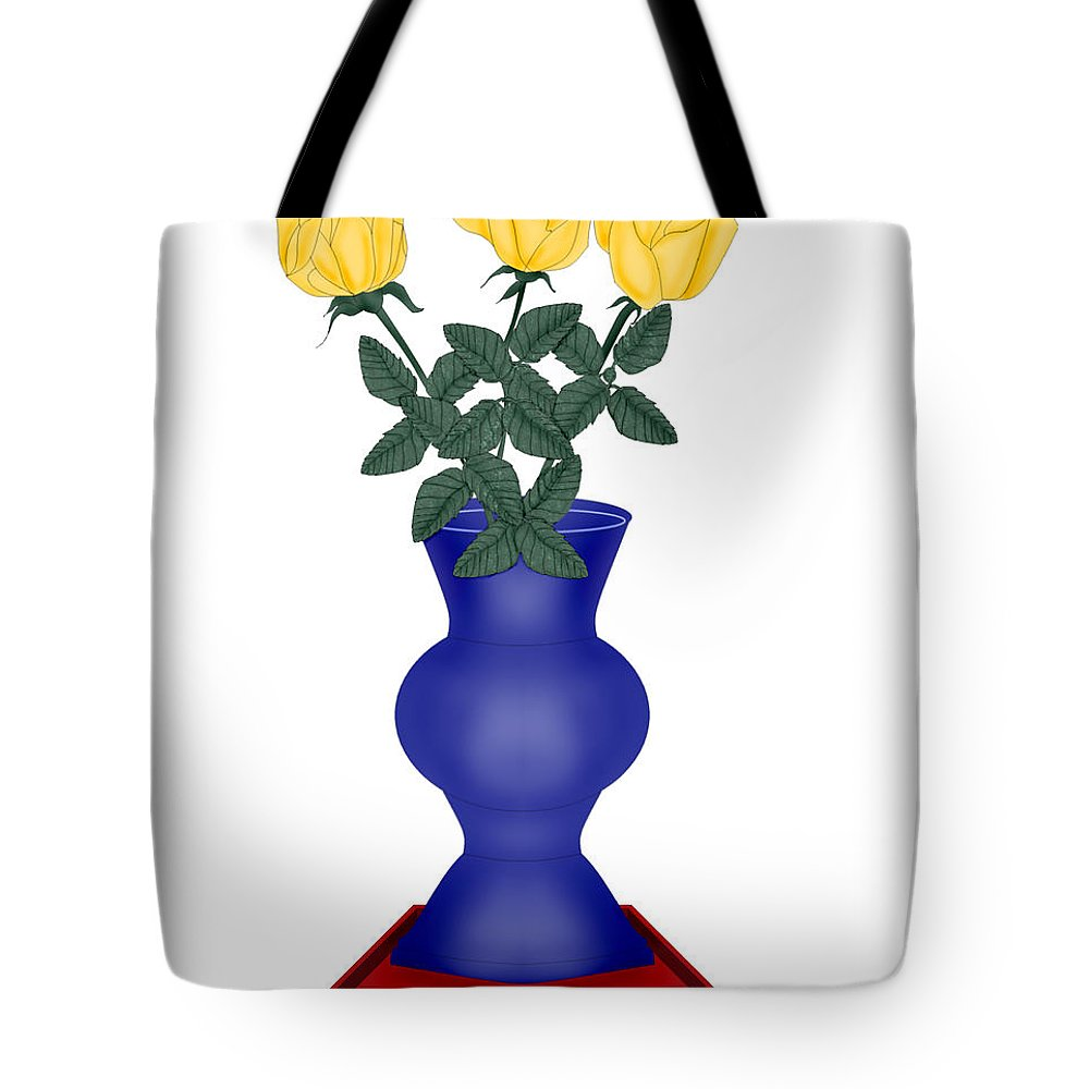 Blue Vase Tote Bag featuring the painting Primary Colors by Anne Norskog