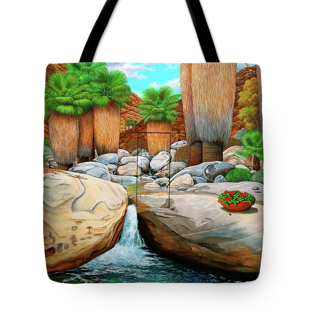 Landscape Tote Bag featuring the painting Primary Escape Route by Snake Jagger
