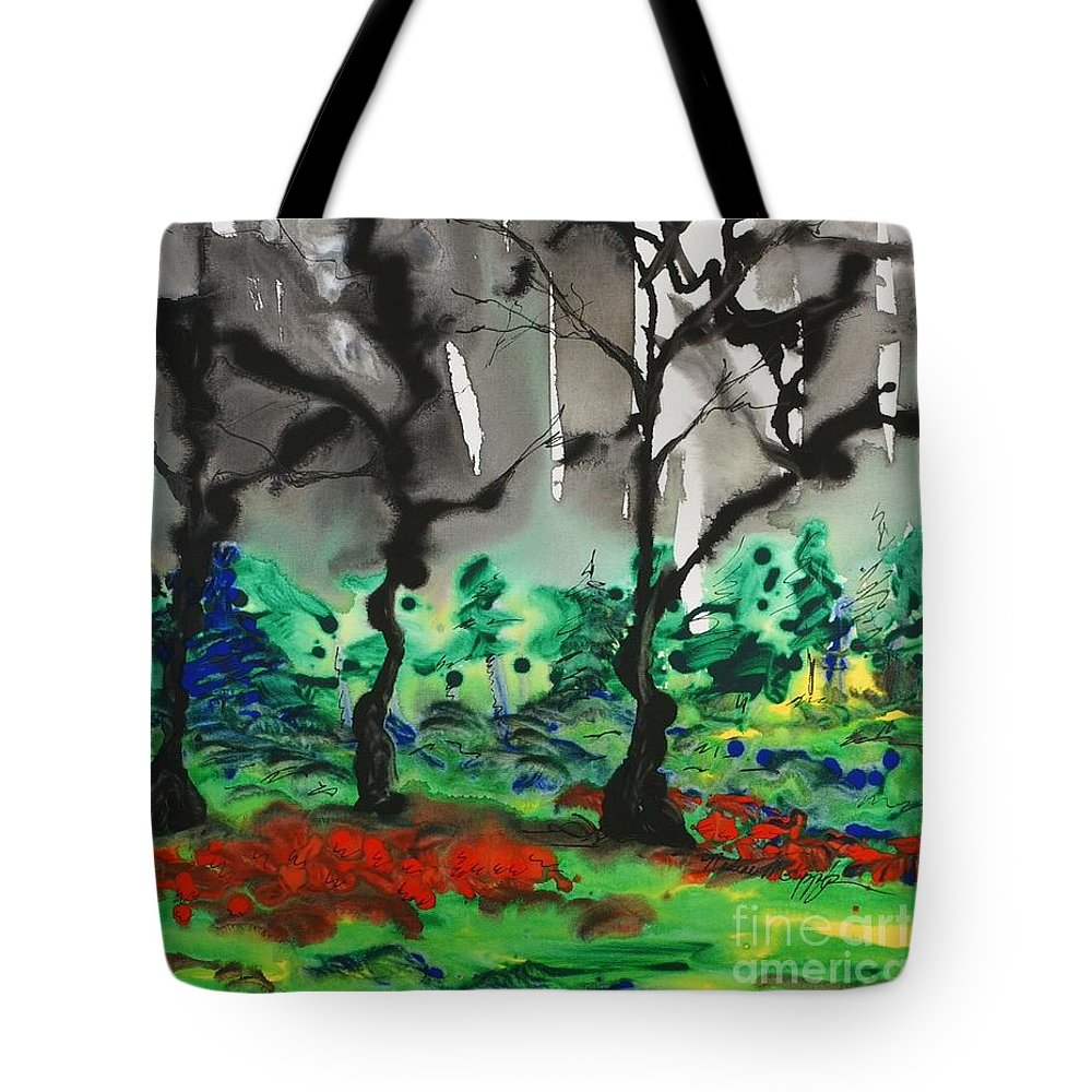 Forest Tote Bag featuring the painting Primary Forest by Nadine Rippelmeyer