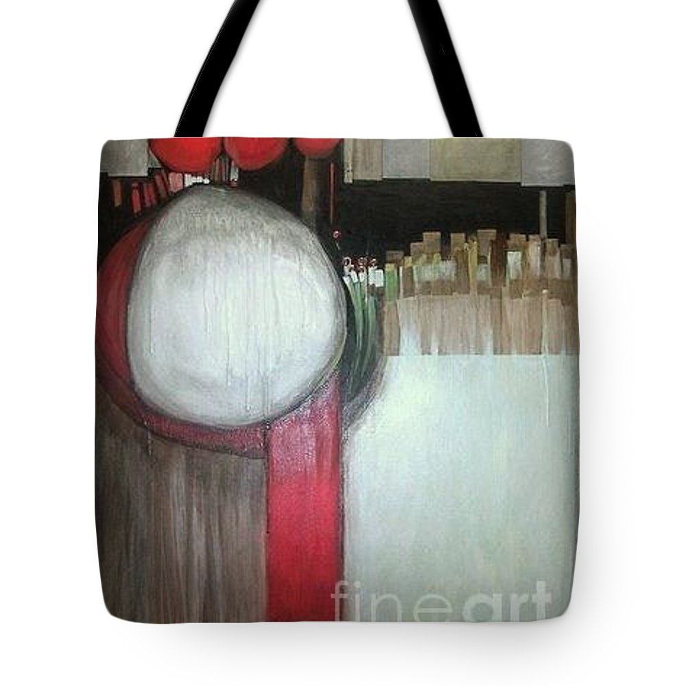 Abstract Tote Bag featuring the painting Primordial by Marlene Burns