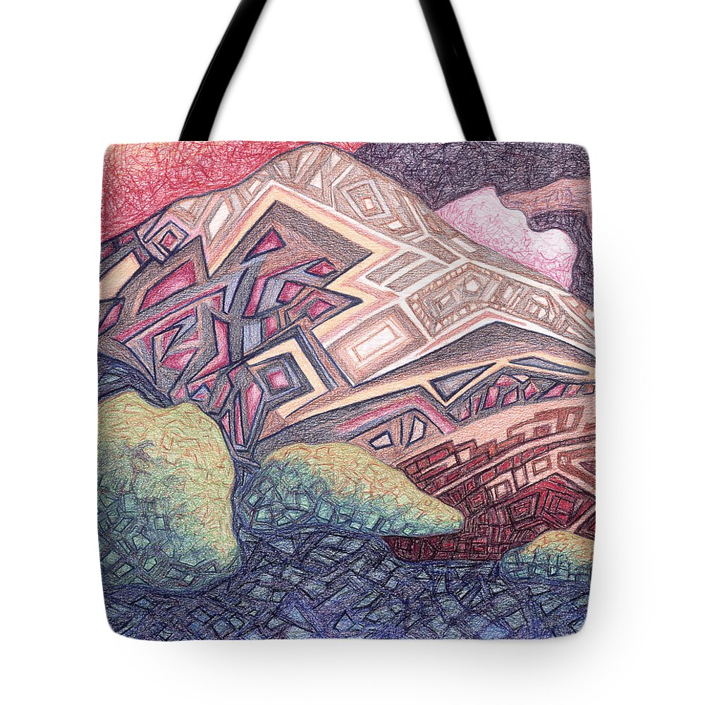 Primordial Memory Tote Bag featuring the drawing Primordial Memory by Dale Beckman