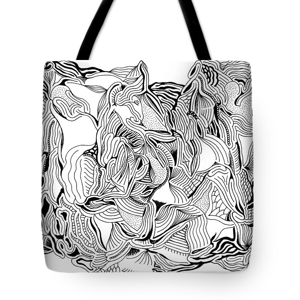 Mazes Tote Bag featuring the drawing Primordial by Steven Natanson